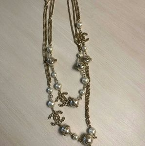 Gold Faux Pearl Long CC Style Necklace